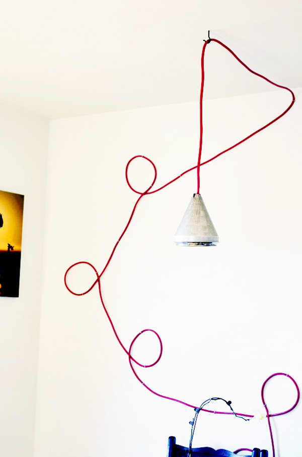 DIY Hanging Colored Extension Cord Lamp