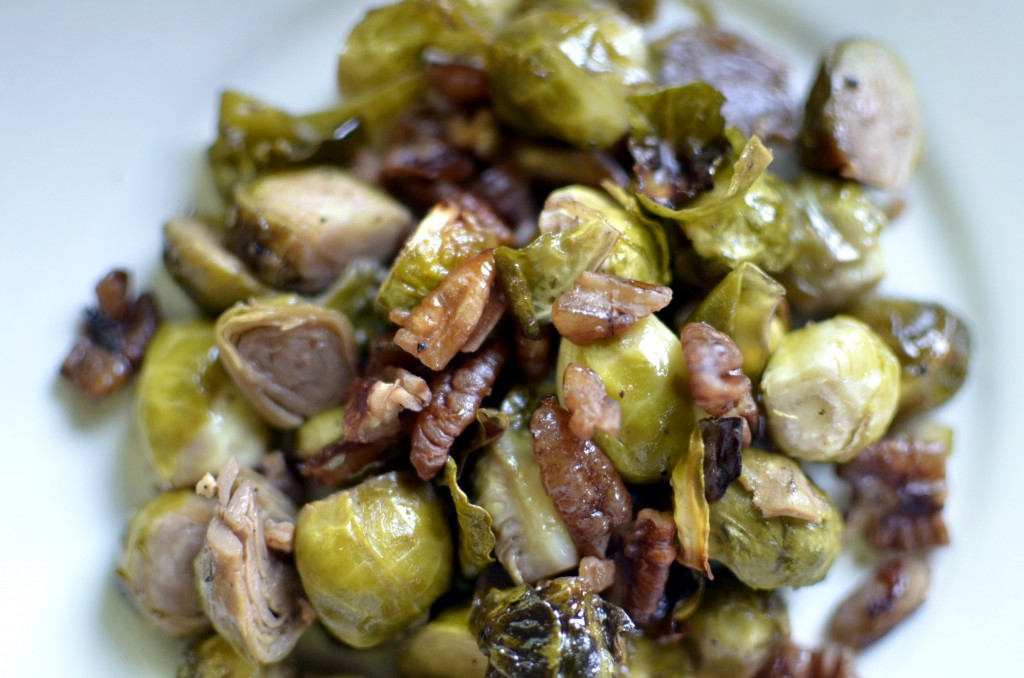 Maple Roasted Brussels Sprouts with Toasted Pecans