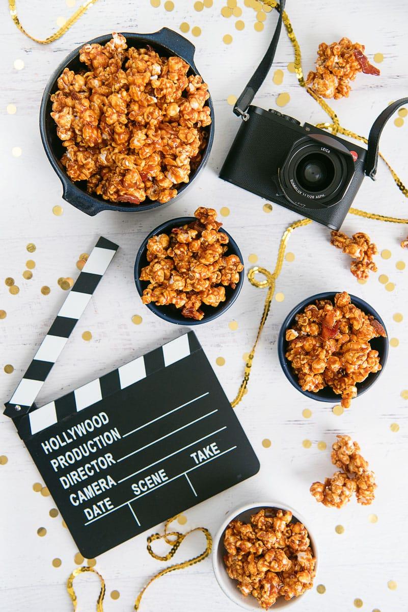 Spicy Caramel Bacon Popcorn Recipe - So Good and a Gluten Free Movie Night Snack!