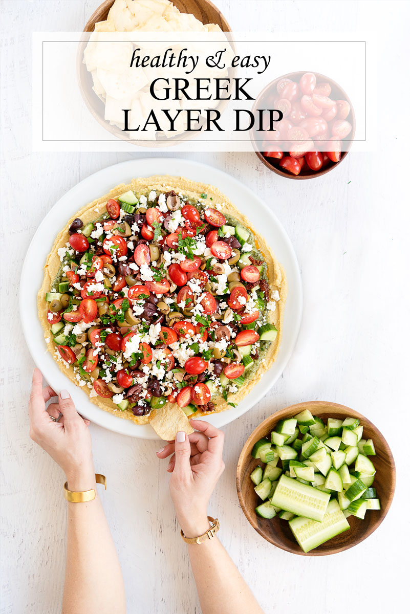 Easy & Healthy Greek Layer Dip Recipe with Hummus