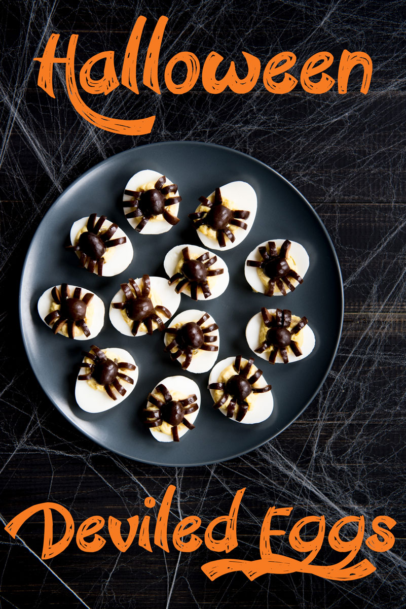 Halloween Deviled Eggs Recipe with Olive Spiders - Easy Halloween Recipe Idea