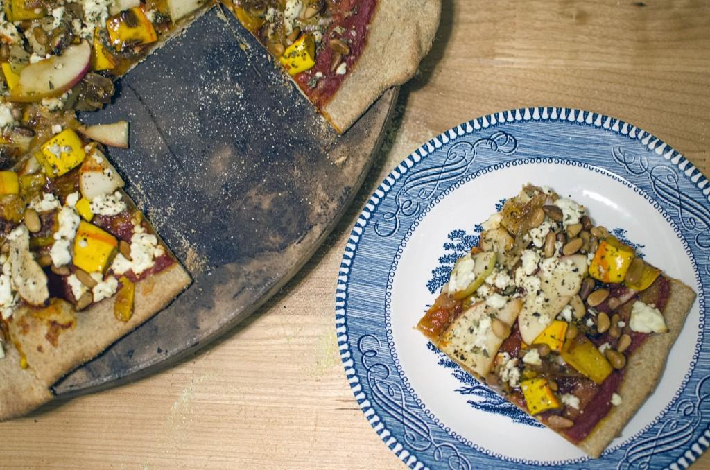 Apple, Feta, Delicata Squash Pizza - aka Kitchen Sink Pizza