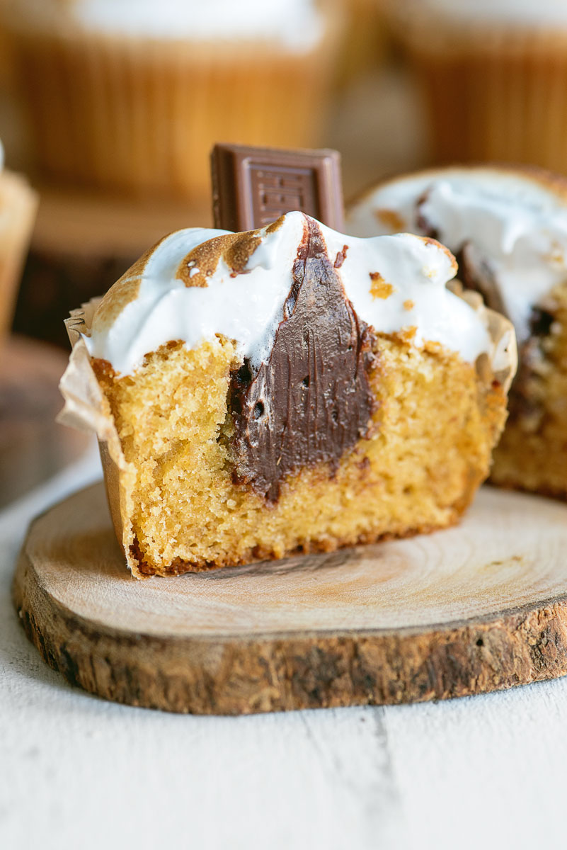 Stuffed S'mores Cupcakes Recipe with Toasted Marshmallow Frosting