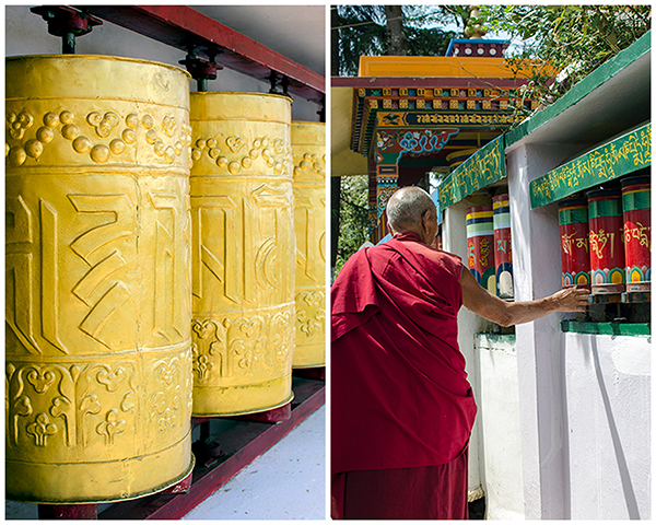 Buddhist Prayer Wheel and Monk, Tsuglagkhang Temple, Mc Cleod Ganj, India