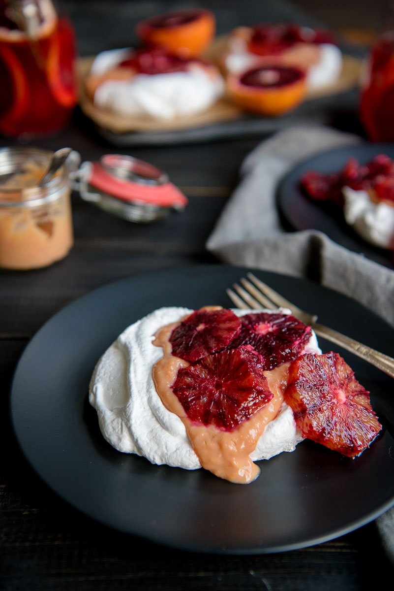 Vanilla Bean Pavlovas + Blood Orange Curd Recipe