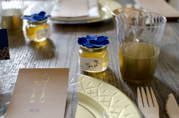 Disposable Gilded Plastic Cups for a Wedding Place Setting or Party