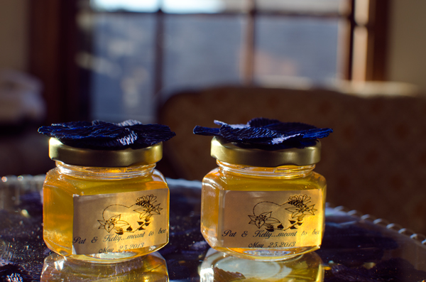 Decorated Honey Jars Part Favors with Crepe Paper Flowers