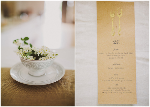 Wedding Details - Homemade Menu and Teacup Decorations