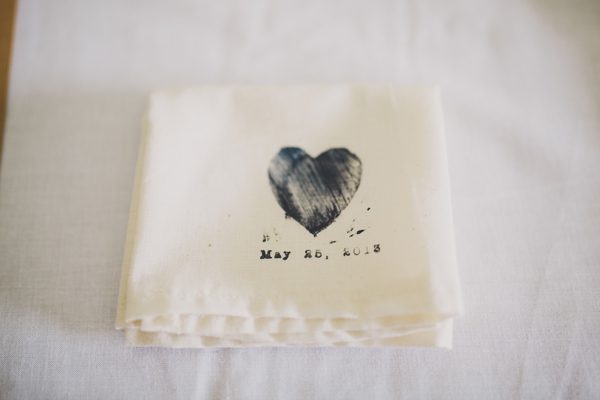 Wedding Details - Homemade Hand Stamped Napkins