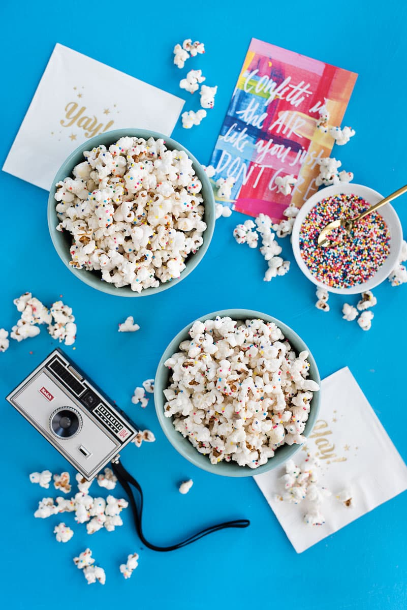 Delicious White Chocolate Confetti Popcorn Recipe for the Grammys or Oscars