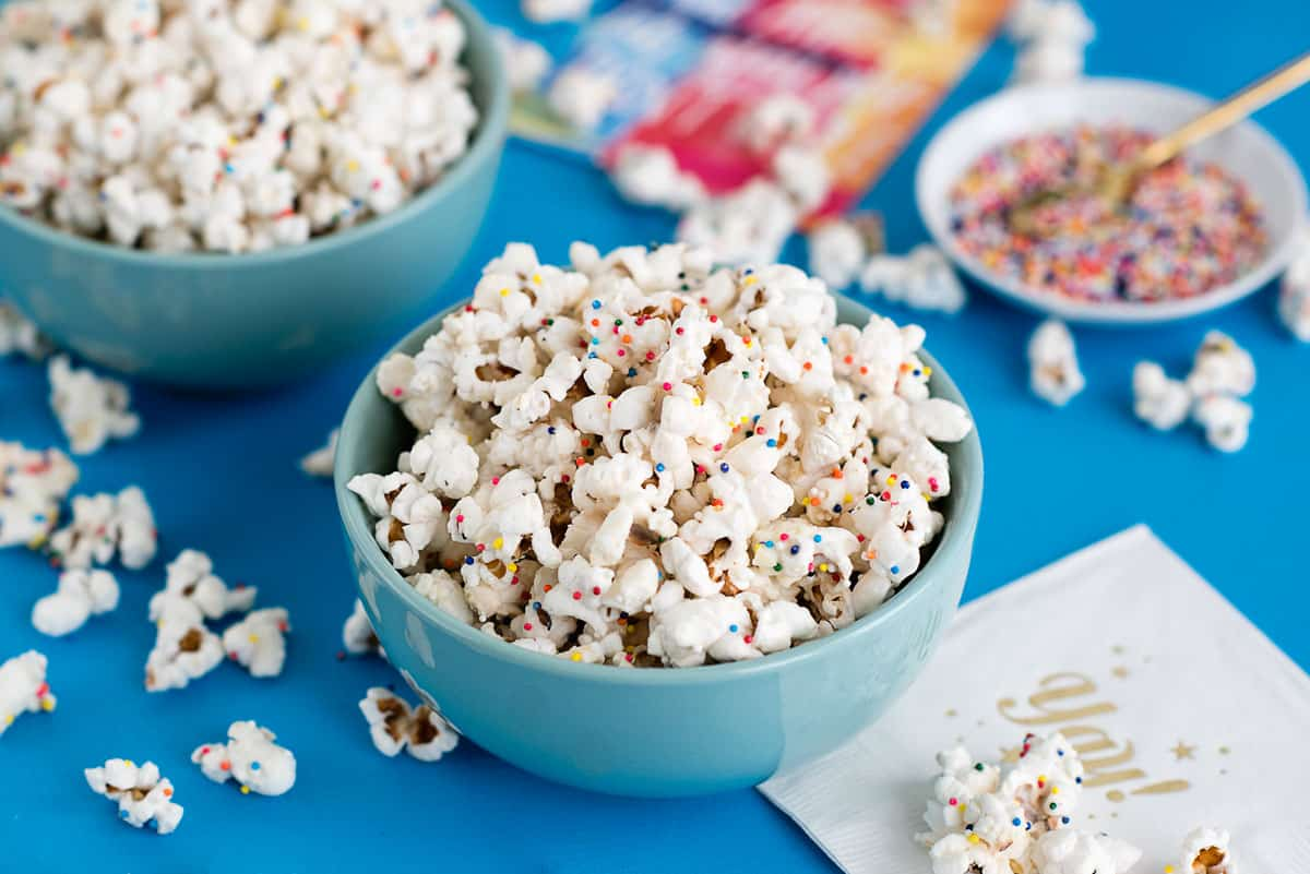 White Chocolate Confetti Popcorn Recipe - A Side of Sweet
