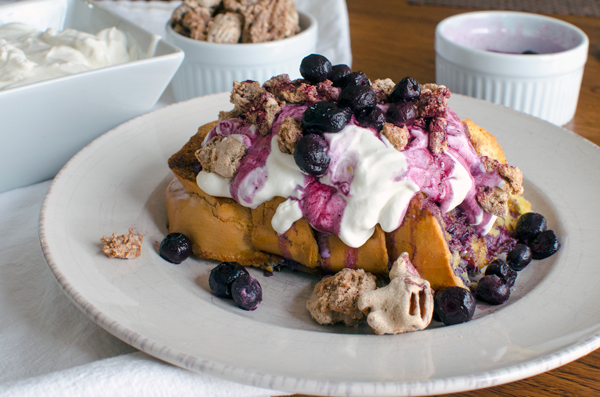 Baked French Toast with Whipped Greek Yogurt and Candied Chai Pecans