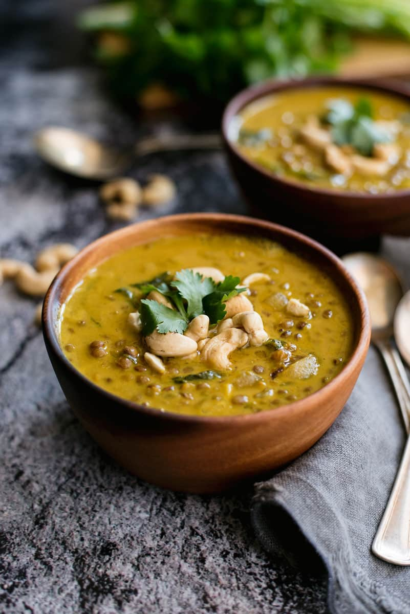 Spiced Lentil Soup with Coconut Milk & Cashews