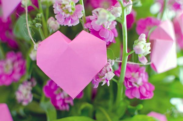 3D Origami Heart Garland