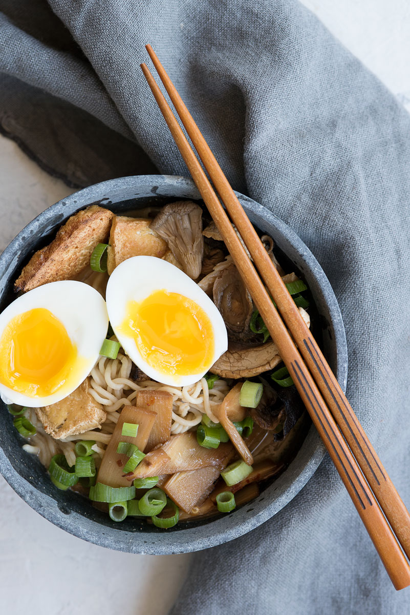 Best Healthy Vegetarian Ramen Recipe with Tofu, Bamboo, Mushrooms & Miso