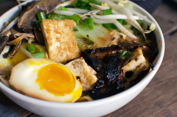 Incredible Homemade Vegetarian Ramen Recipe with Tofu, Soft boiled egg, Sprouts, Mushrooms and amazing broth!