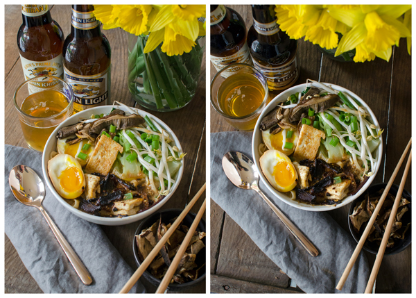 Vegetarian Homemade Ramen Bowls Recipe - Paired with Kirin Japanese Beer