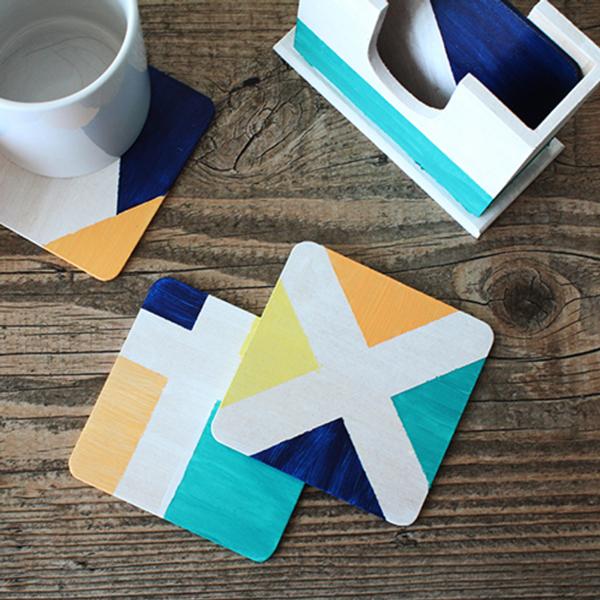 crafty ideas modern coasters.  DIY Painted Wood Coasters Kit A Side of Sweet