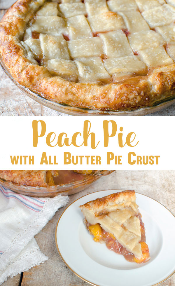 Nothing says summer like a peach pie with all butter pie crust. This recipe is for the best pie you'll ever eat! I dare you to have just one piece.
