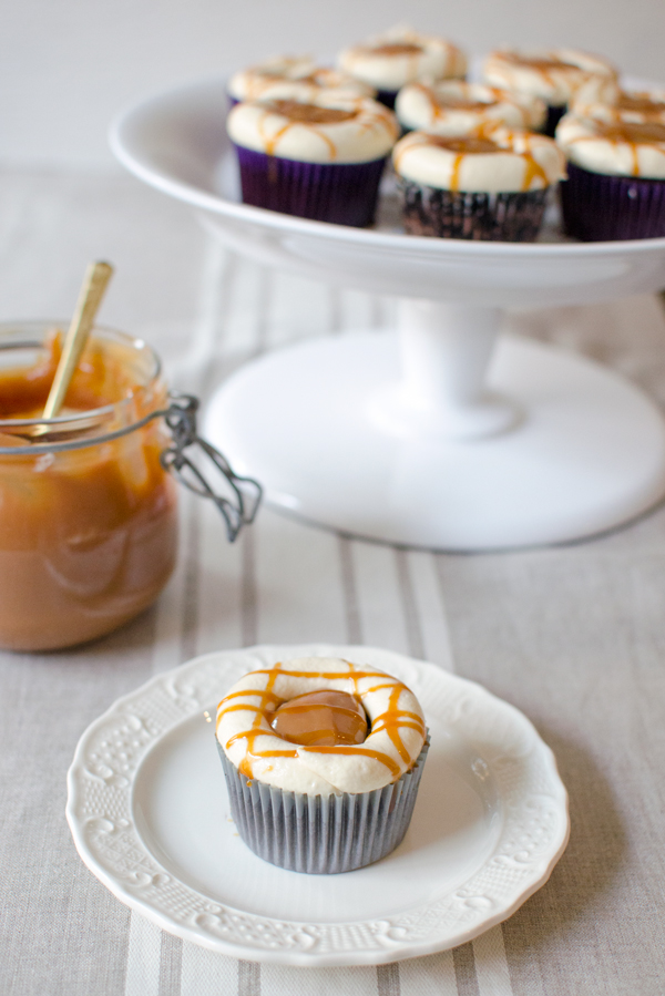 Chocolate Cupcakes with Caramelized White Chocolate Buttercream & Dulce de Leche