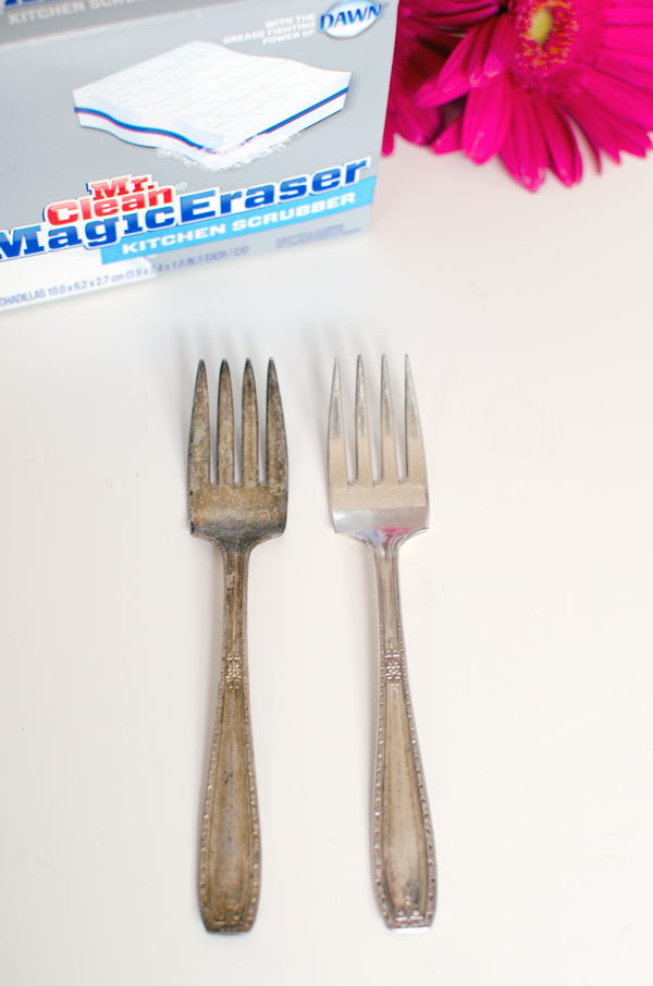 Creative Uses for a Mr. Clean Magic Eraser :: Polishing Silverware without Chemicals