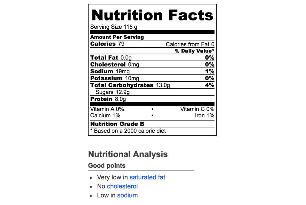 Nutrition info for natural fruit snacks with no corn syrup