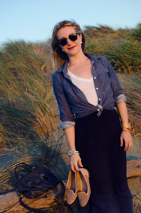 Ocean Beach :: Chambray Shirt + Styling a Maxi for Fall