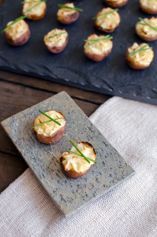 Lightened Up Mini Twice Baked Potatoes Appetizer - cute and without all the extra fat!