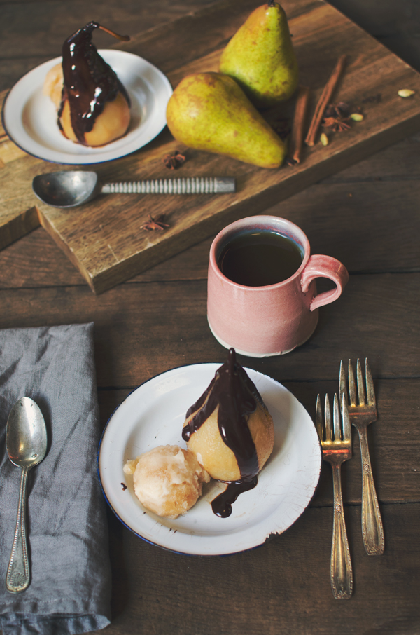 Chai Spice Poached Pears with Chai Sorbet #recipe #dessert #vegan