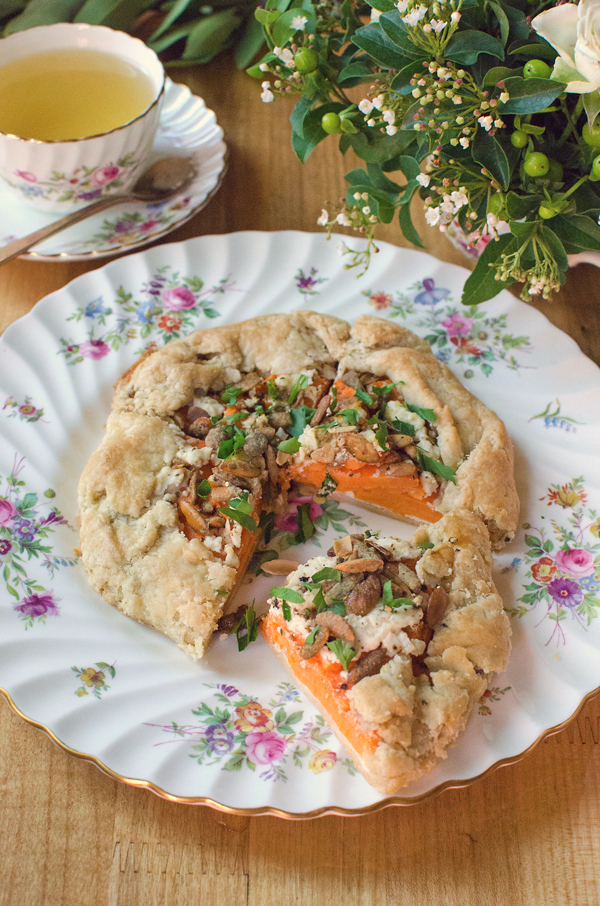 Fall Sweet Potato Galette with Chevre and Pumpkin Seeds