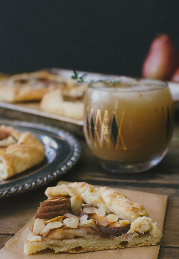 Pear Thyme Cocktail Recipe & Pear Almond Galettes