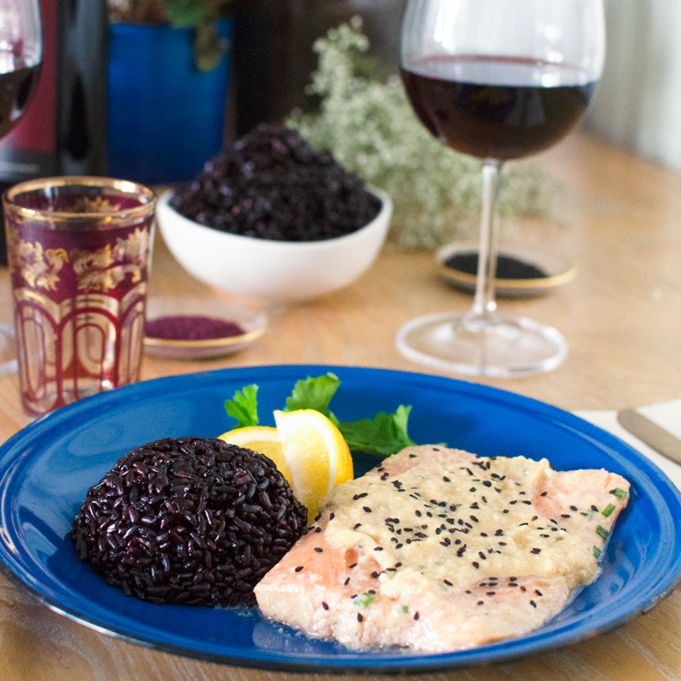 Easy Miso Salmon Recipe + Black Rice - a great date night recipe!