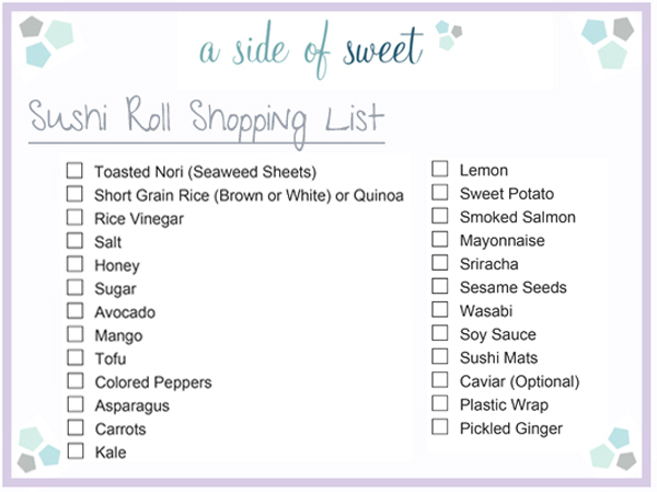 Sushi Roll Shopping List