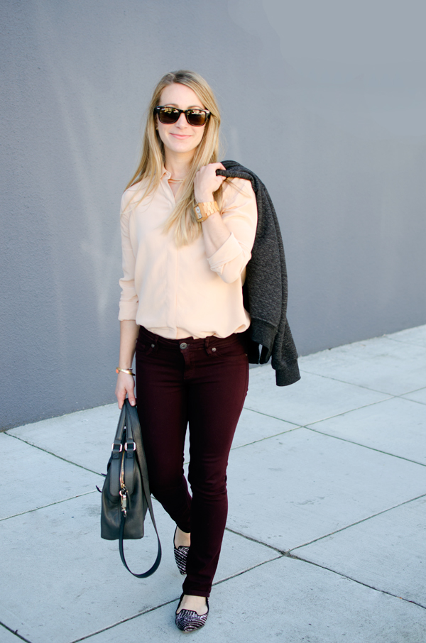 Valentine's Day Style :: Colored Jeans and Blush Pink