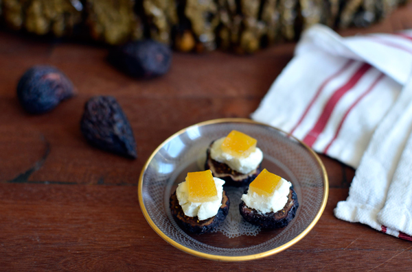 Love bite-sized appetizers! This easy recipe has fig, goat cheese (chevre) and candied lemon peel!