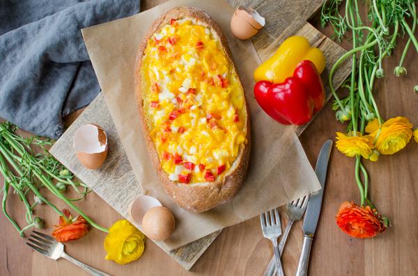 Recipe Genius! Easy baked egg boats recipe.