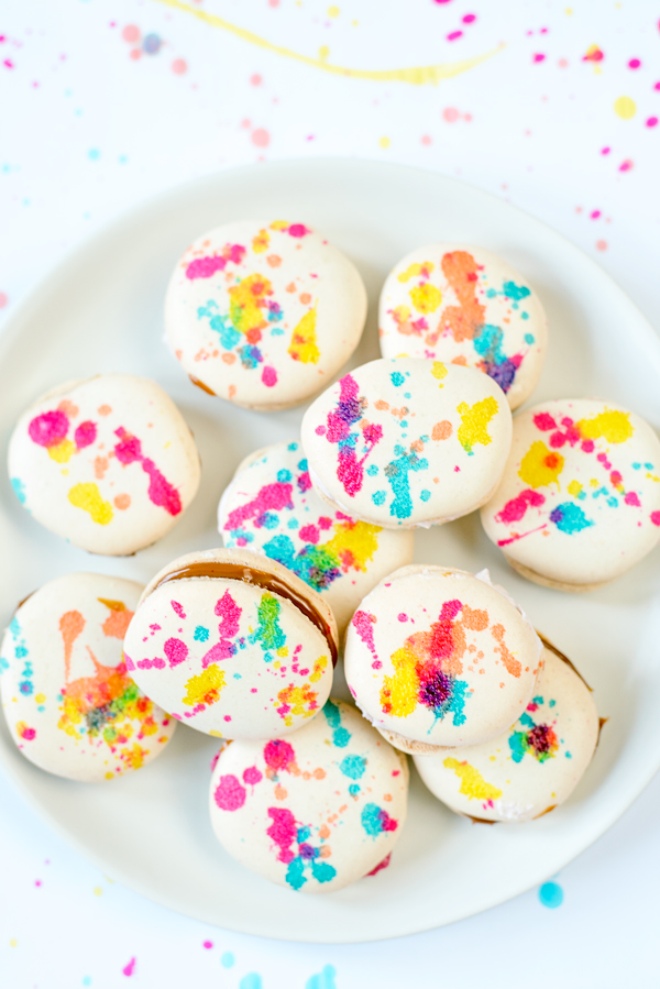 Splatter Painted French Macarons - A Side of Sweet