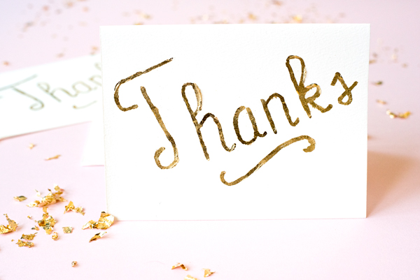 Thank you notes made special with gold leaf!