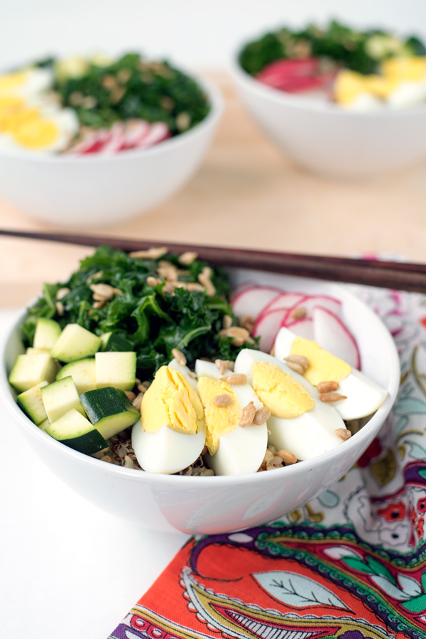 Ideas for healthy leftovers - make ahead rice bowls with massaged kale, radish and hard boiled egg