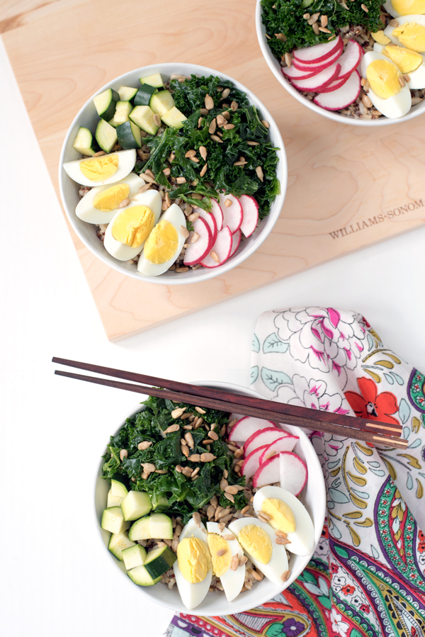 Healthy lunch bowls great for leftovers - kale, radish, egg and rice
