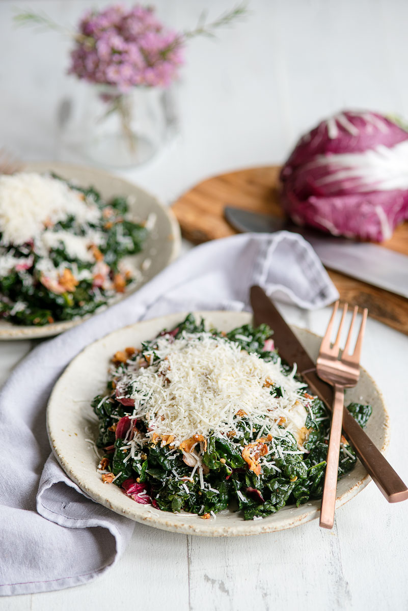 Healthy Easy Massaged Kale Salad Recipe with Prosciutto, Parmesan and Balsamic Vinegar