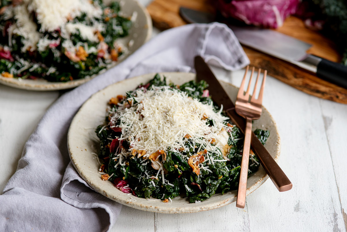 Healthy Easy Kale Salad Recipe with Prosciutto, Parmesan and Balsamic Vinegar