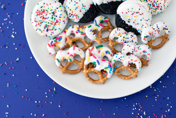 Party Appetizers - White chocolate covered oreos and pretzels