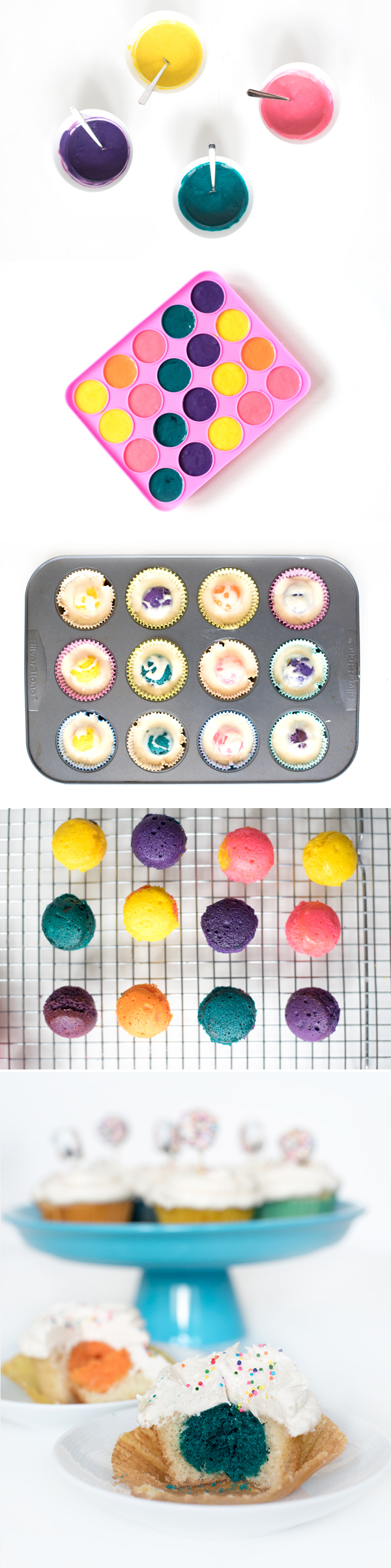 Stuffed Vanilla Cupcakes with a Colorful Surprise! The secret? A Cake pop baked inside!