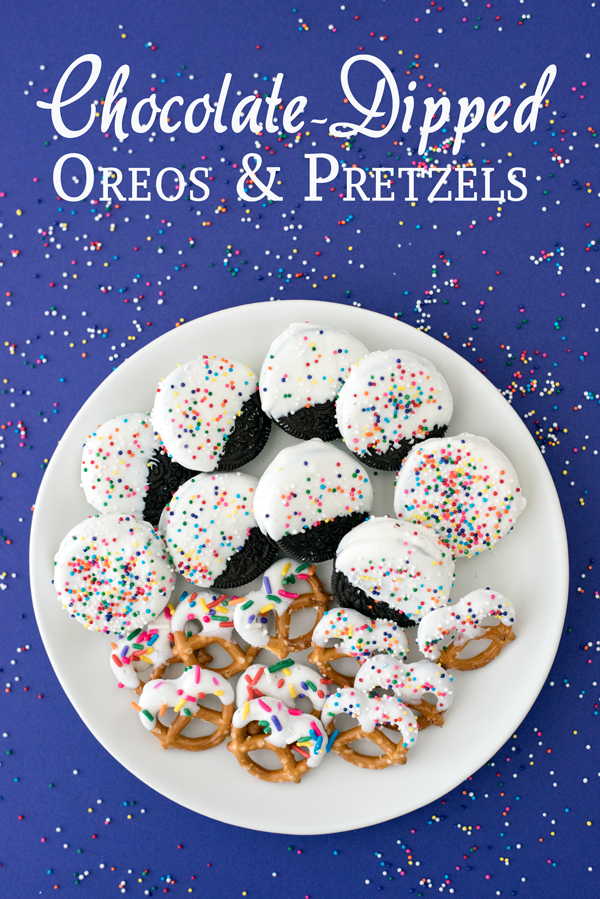 How to make white chocolate dipped pretzels and oreos - with sprinkles!
