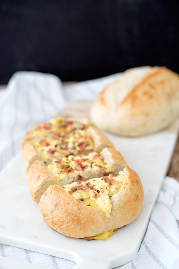Easiest Breakfast Recipe - Baked Egg Bread Boats with Pancetta, Leeks and Goat Cheese!