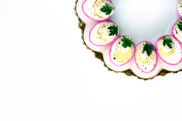 Stunning Recipe for Beet-Dyed Deviled Eggs with Mustard Ranch