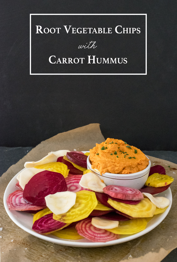 Healthy Vegan Carrot Hummus Recipe with Raw Root Vegetable Chips
