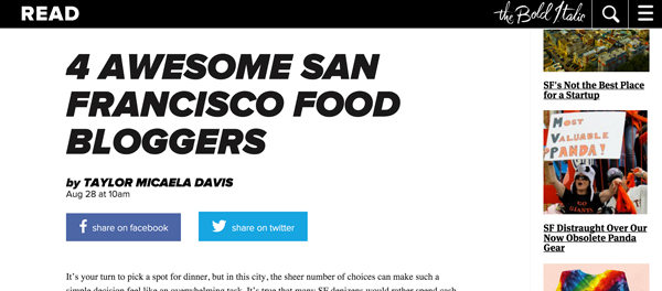 Best San Francisco Food Bloggers // The Bold Italic