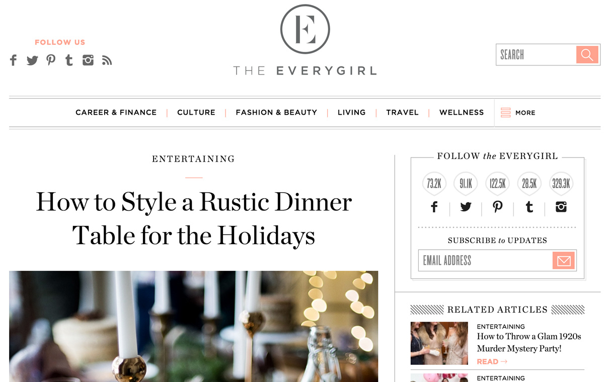 Everygirl Rustic Dinner Party Feature